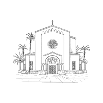 Miejsce ilustracja architektura kościoła czarno-biały rysunek szkic ilustracja