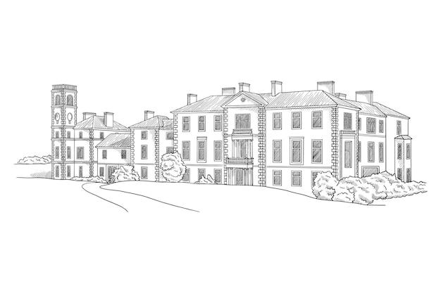 Miejsce ilustracja architektura zamku czarno-biały rysunek szkic ilustracja