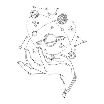 Miejsce ilustracji na dłoni