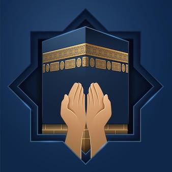 Miejsce kaaba z rękami modlitewnymi. mekka święty kamień i dłonie religijnego człowieka. tło ka hab na święta al-adha lub eid ul-adha, święto ofiar, ramadan. salah modli się lub podpisuje. religia