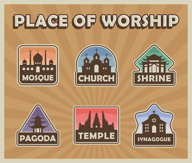 Miejsce kultu religijnego budynek odznaka naklejka retro pop-art