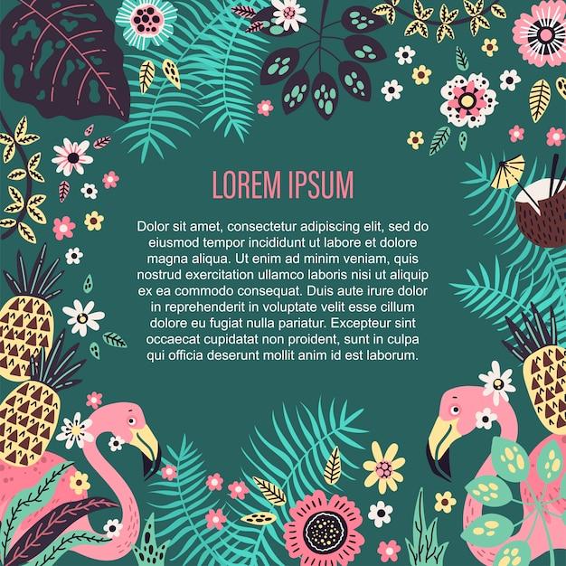 Miejsce na szablon tekstowy otoczony wektorowymi owocami tropikalnymi, roślinami i kwiatami.