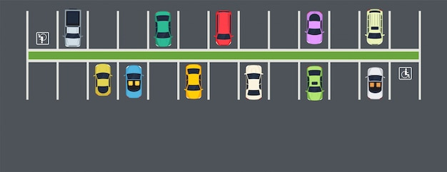Miejsce parkingowe z samochodami. widok z góry na strefę parkowania miejskiego.