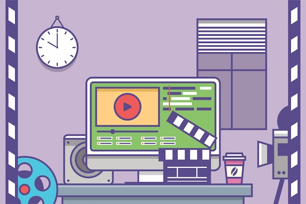 Miejsce pracy aplikacji interfejsu edytora wideo i filmów na monitorze komputera edycja
