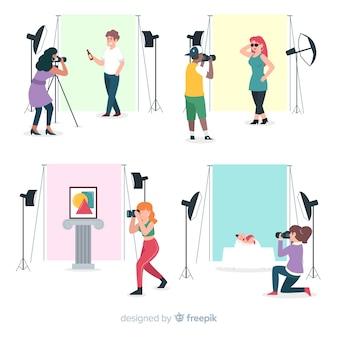 Miejsce pracy fotografów o płaskiej konstrukcji