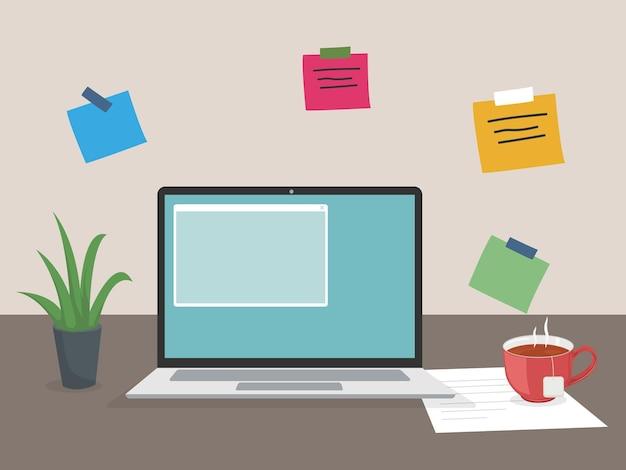 Miejsce pracy pracujące z domu wirtualne webinarium na czacie