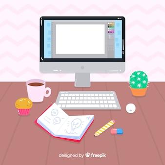 Miejsce pracy projektanta graficznego