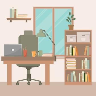 Miejsce pracy w biurze. szafka ze stołem i komputerem. ilustracja płaski.