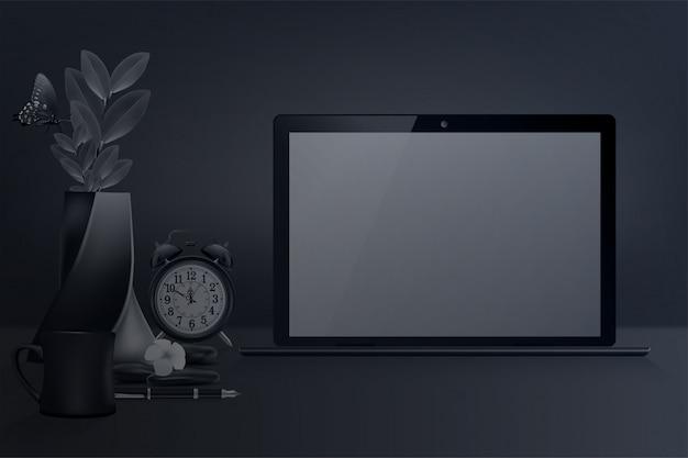 Miejsce pracy w nowoczesnym pięknym biurze domowym, laptop z niebieskim pustym ekranem, projektowanie wnętrz. wektor i ilustracja.