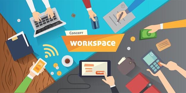 Miejsce pracy z osobą pracującą na laptopie oglądając odtwarzacz wideo, koncepcję seminarium internetowego, biznesowe szkolenie online, edukacja na komputerze, ilustracja wektorowa koncepcji e-learningu