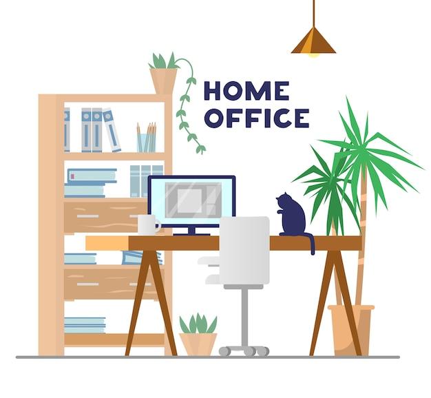 Miejsce pracy ze stołem, komputerem, szafką z książkami i innymi rzeczami, roślinami, krzesłem i kotem. domowe biuro . ilustracja.
