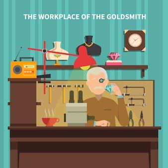 Miejsce pracy złotnika ilustracja