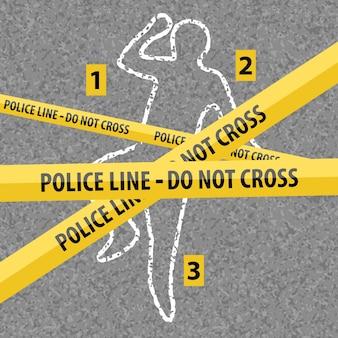 Miejsce zbrodni kontur ciała kredą na tekstury asfaltu. żółta linia policji nad kredą zarys martwego ciała. ilustracja wektorowa