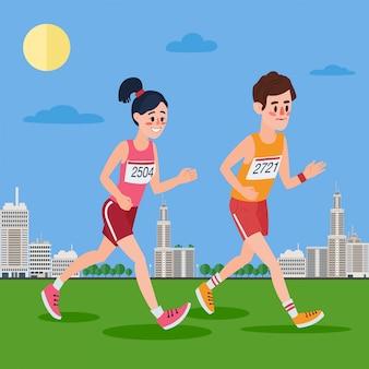 Miejscy maratończycy. mężczyzna i kobieta biegnie przez miasto