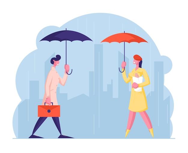 Miejscy przechodnie w wilgotną, deszczową jesień lub wiosenną pogodę