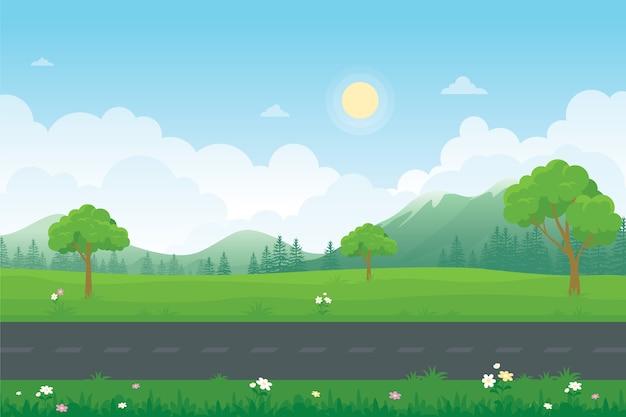 Miejska autostrada z pięknym krajobrazem przyrody