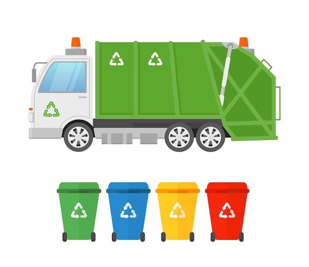 Miejska ciężarówka sanitarna śmieciarka i kontenery na różne rodzaje śmieci. zbieranie i transport odpadów. zielona śmieciarka, koncepcja eco w stylu płaski.