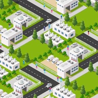 Miejska fabryka roślin przemysłowych izometrycznych elementów urbanistycznych