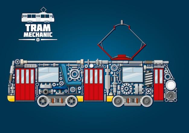 Miejska mechanika tramwajowa. tramwaj składający się z mechanicznych kół zębatych, drzwi i okien