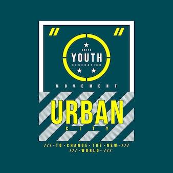 Miejska młodzieżowa typografia t shirt design