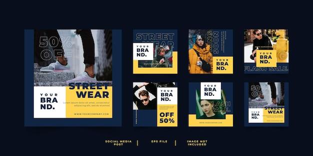 Miejska moda streetwear banner post w mediach społecznościowych