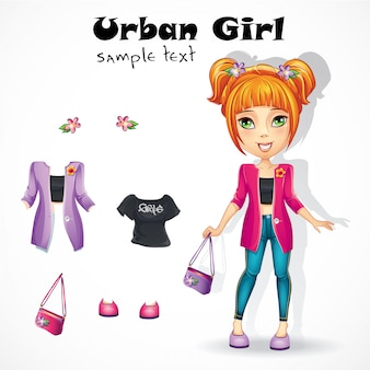 Miejska nastolatka w różowej kurtce.