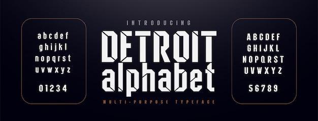 Miejska nowoczesna czcionka alfabetu. skondensowana typografia