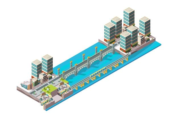 Miejska rzeka. krajobraz miasta z niskimi budynkami z poli i dużym wiaduktem mostowym izometrycznym