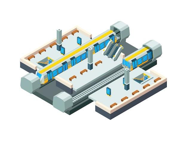 Miejska stacja metra. miejski tunel metra z pociągiem kolejowym wektor izometryczny tło stacji low poly. pociąg i metro miasto, ilustracja metra stacji