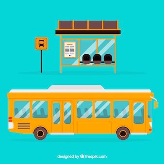 Miejski autobus i przystanek autobusowy o płaskiej konstrukcji