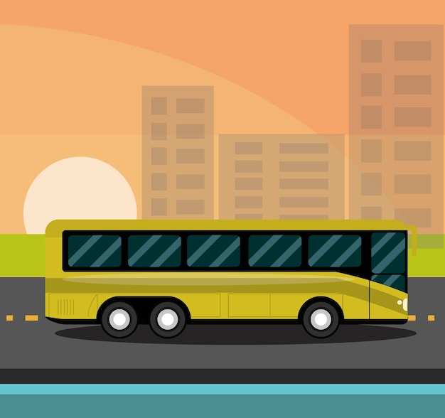 Miejski autobus z lekkim szkłem barwiącym ilustrację krajobrazu miejskiego
