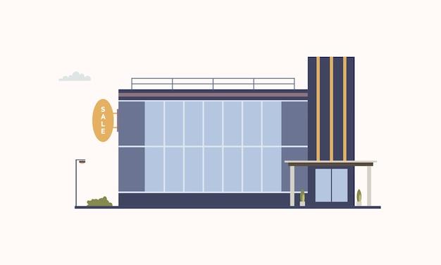 Miejski budynek centrum handlowego lub galerii handlowej z dużymi panoramicznymi oknami i przeszklonymi drzwiami wejściowymi, zbudowany w nowoczesnym stylu architektonicznym. outlet lub dyskont. ilustracja wektorowa kolorowe.