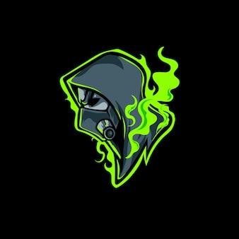 Miejski człowiek z maską gazową