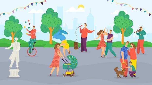 Miejski festiwal uliczny, letni festyn, targi w parku dla rodziny z muzykami, klaunami i dekoracjami, spacerujący tłum szczęśliwych ludzi, ilustracja tańca. świąteczne miasto z pokazem karnawału.