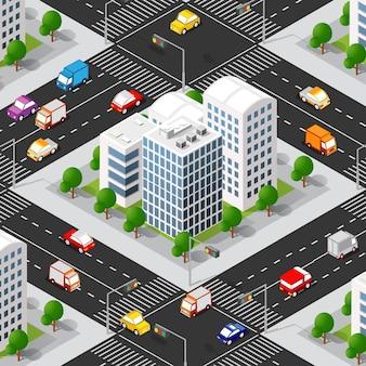 Miejski izometryczny 3d bloku miejskiego z domami, ulicami, samochodami.