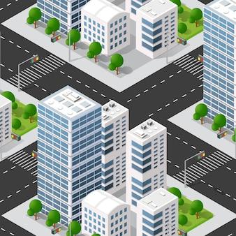 Miejski izometryczny 3d bloku miejskiego z domami, ulicami.