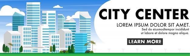 Miejski Krajobraz Wielkiego Miasta Premium Wektorów