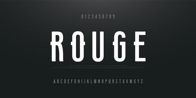 Miejski nowoczesny alfabet skondensowane czcionki i liczby