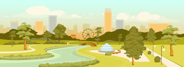 Miejski park płaski kolor. miejska strefa rekreacyjna i nowoczesne budynki na scenie dziennej. wypoczynek na świeżym powietrzu. kwadratowy krajobraz kreskówka 2d z drapaczami chmur i drzewami w tle