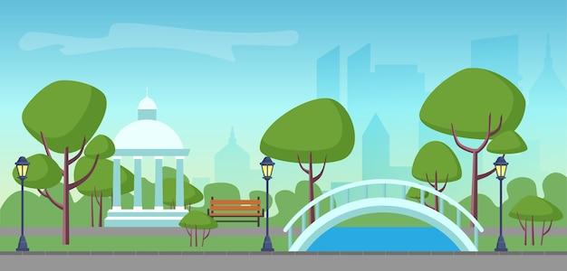 Miejski park publiczny na tle nowoczesnych drapaczy chmur miasta. zielony park w centrum miasta