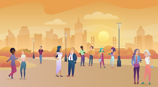Miejski park publiczny w zachodzie słońca. komunikacja ludzi, zachęcanie ilustracji czasu
