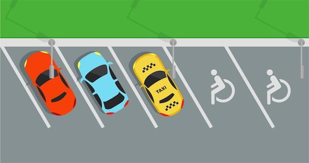 Miejski parking z zestawem różnych samochodów na białym tle