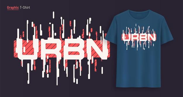 Miejski. projekt graficzny koszulki, typografia, nadruk stylizowanym tekstem. ilustracja wektorowa