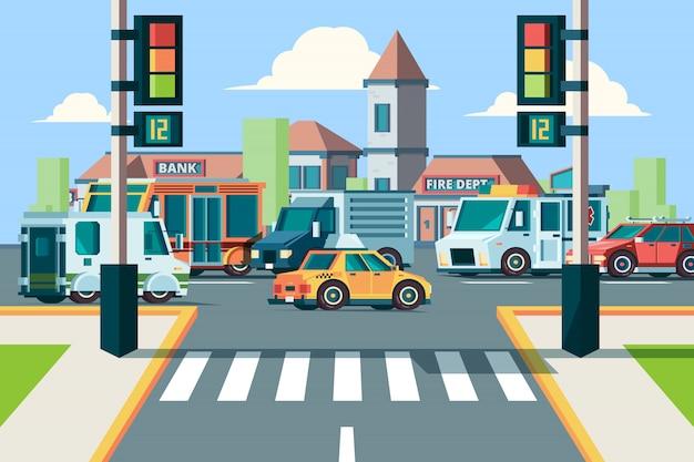 Miejski ruch drogowy. skrzyżowanie krajobrazu miejskiego z samochodami miejskimi w przejściu dla pieszych z oświetleniem w tle