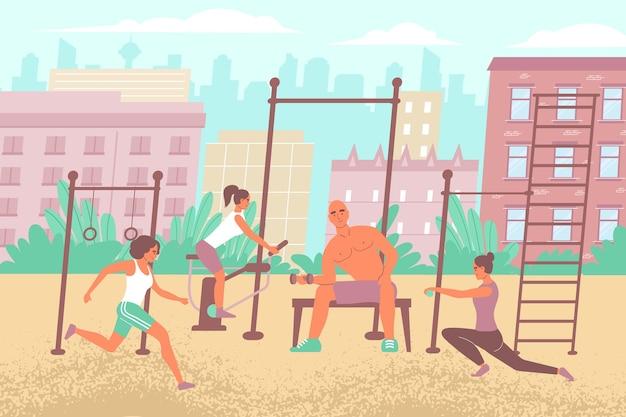 Miejski skład boiska sportowego z płaskim odkrytym pejzażem miejskim i sprzętem do ćwiczeń z ilustracjami osób wykonujących ćwiczenia treningowe