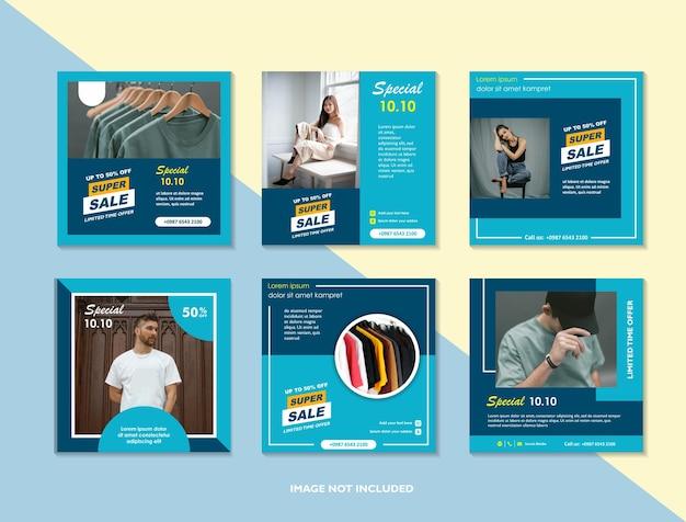 Miejski szablon postu w mediach społecznościowych do marketingu cyfrowego i promocji sprzedaży nowoczesnej reklamy modowej