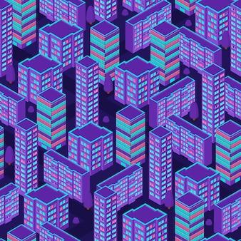 Miejski wzór. widok izometryczny. fioletowe kolory neonowe. nocne światła miasta. nowoczesny modny wzór tła. ilustracja wektorowa.