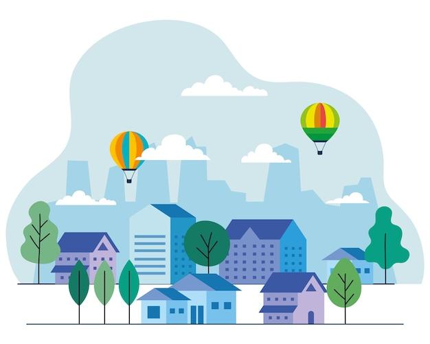 Miejskie domy z balonami na gorące powietrze, drzewami i chmurami, projekt, architektura i motyw miejski