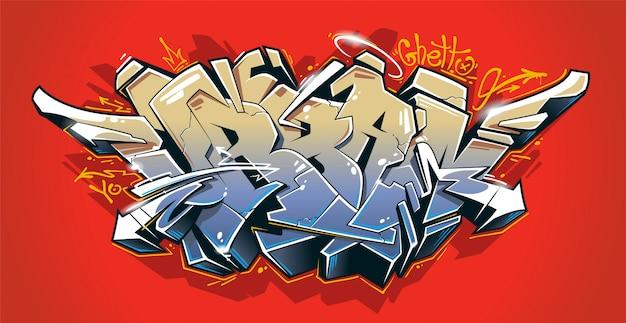 Miejskie - dzikie graffiti, trójwymiarowe bloki w soczystych kolorach na czerwonym tle. napis graffiti na ulicy. grafika wektorowa.