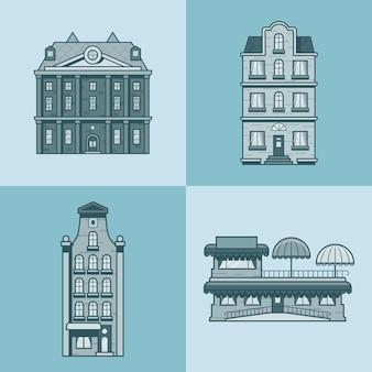 Miejskie kamienice hotel kawiarnia restauracja taras architektura zestaw budynków